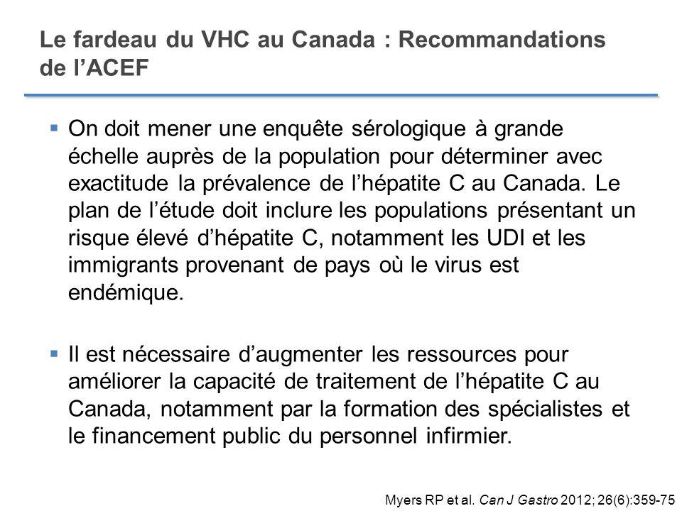 Le fardeau du VHC au Canada : Recommandations de l'ACEF