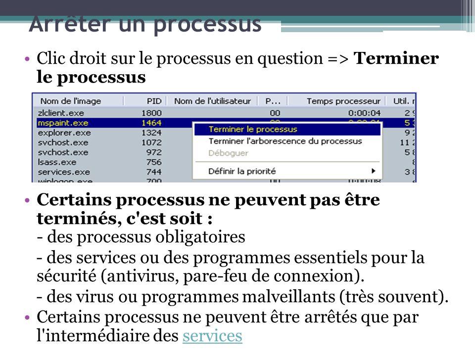 Arrêter un processus Clic droit sur le processus en question => Terminer le processus.
