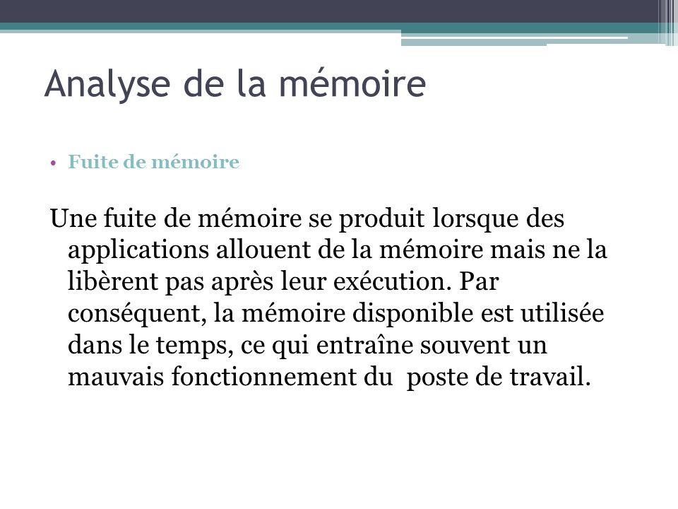 Analyse de la mémoire Fuite de mémoire.