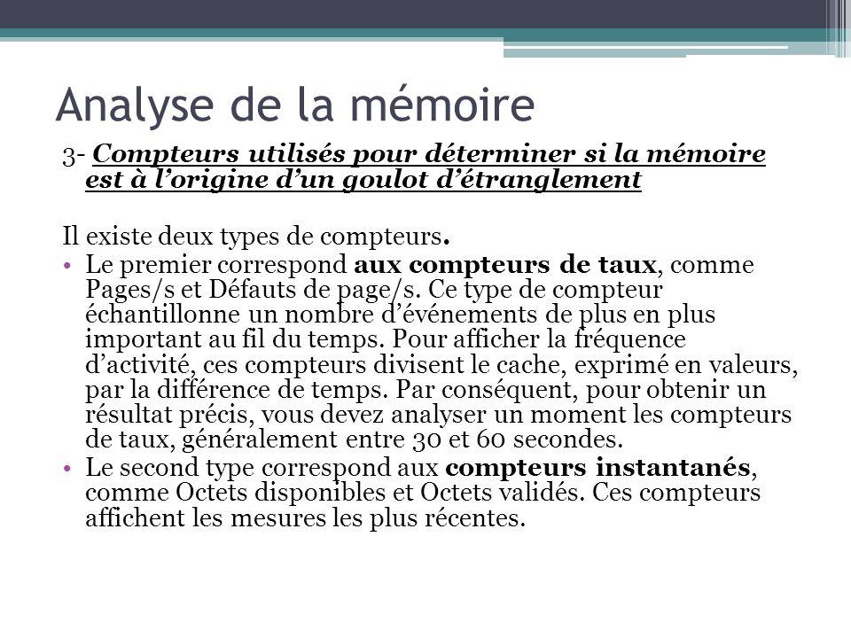 Analyse de la mémoire 3- Compteurs utilisés pour déterminer si la mémoire est à l'origine d'un goulot d'étranglement.