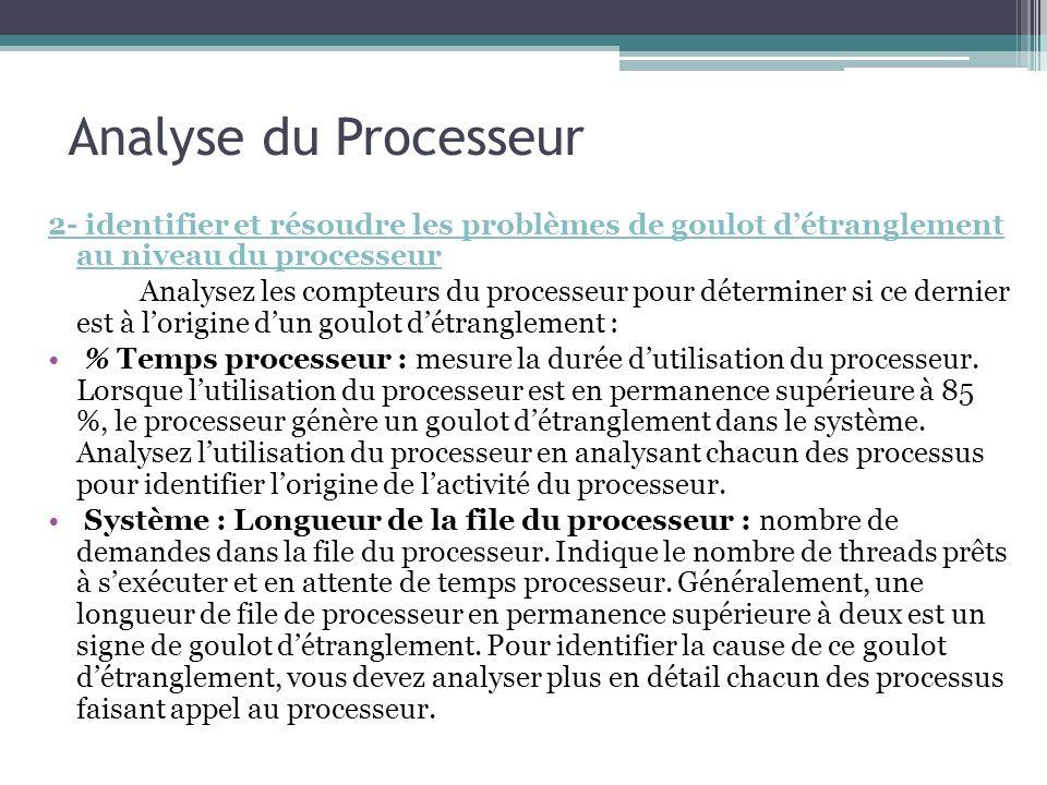 Analyse du Processeur 2- identifier et résoudre les problèmes de goulot d'étranglement au niveau du processeur.