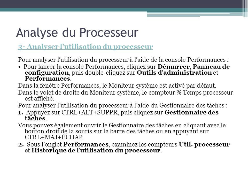 Analyse du Processeur 3- Analyser l'utilisation du processeur