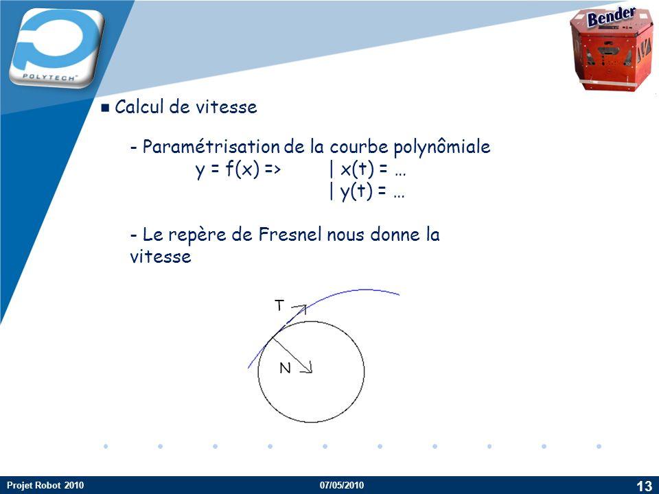 ▪Calcul de vitesse Bender - Paramétrisation de la courbe polynômiale