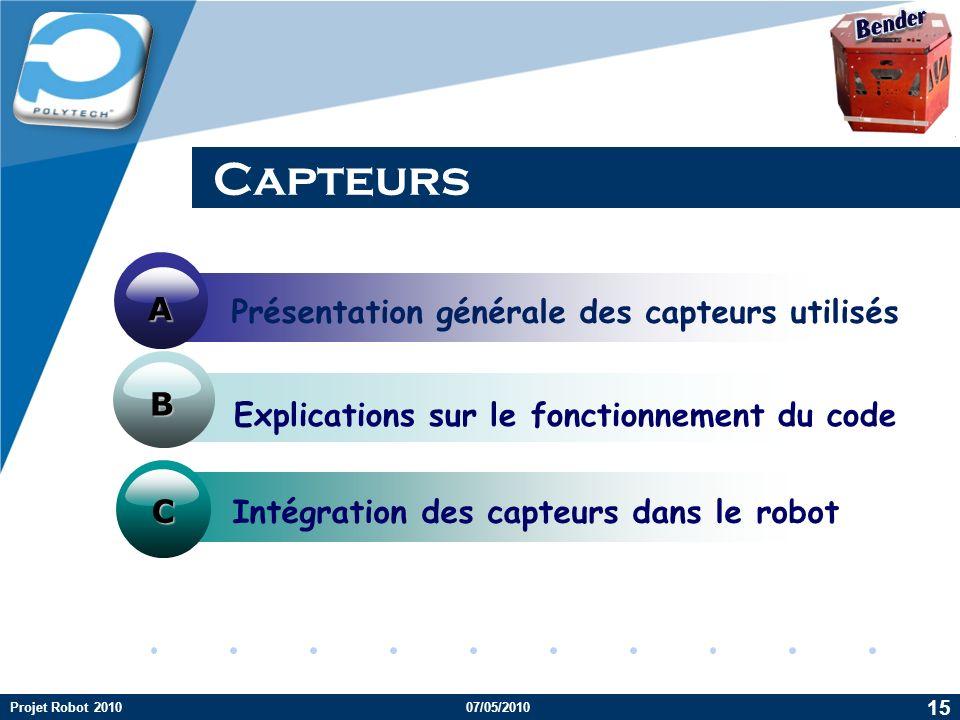 Capteurs A Présentation générale des capteurs utilisés B