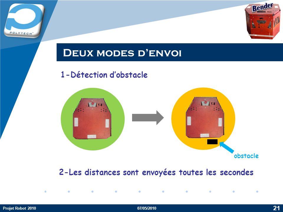 Deux modes d'envoi Bender 1-Détection d'obstacle