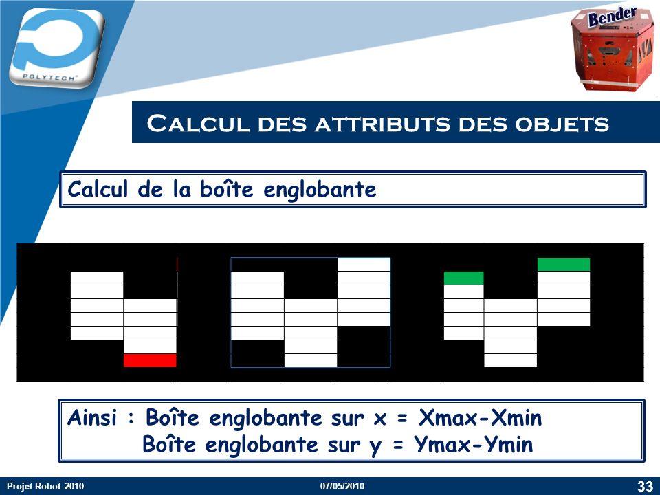 Calcul des attributs des objets