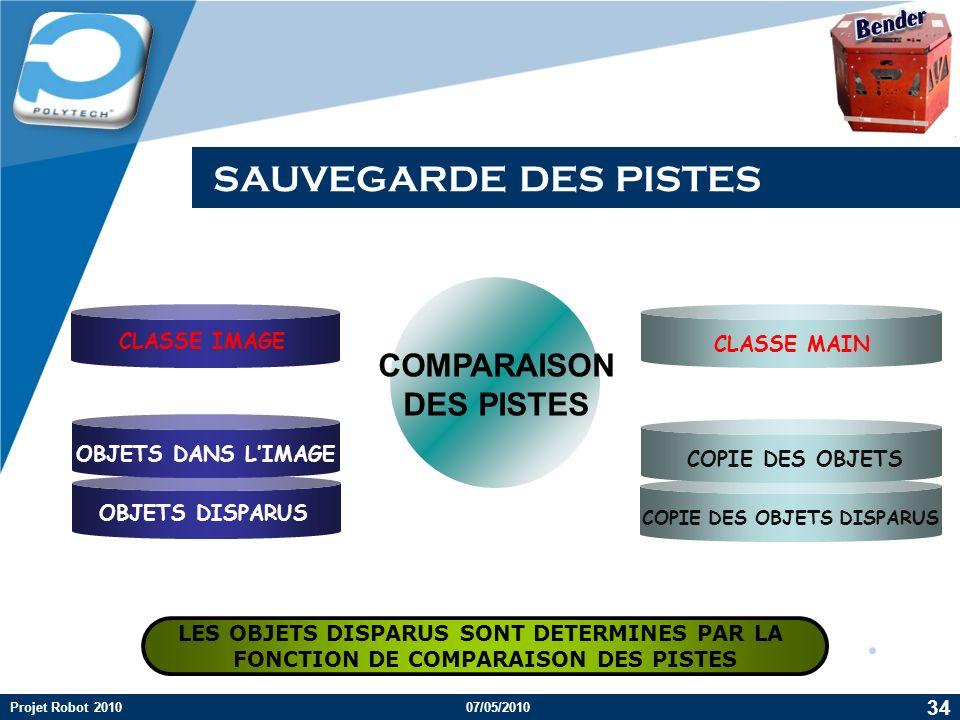 SAUVEGARDE DES PISTES COMPARAISON DES PISTES Bender CLASSE IMAGE