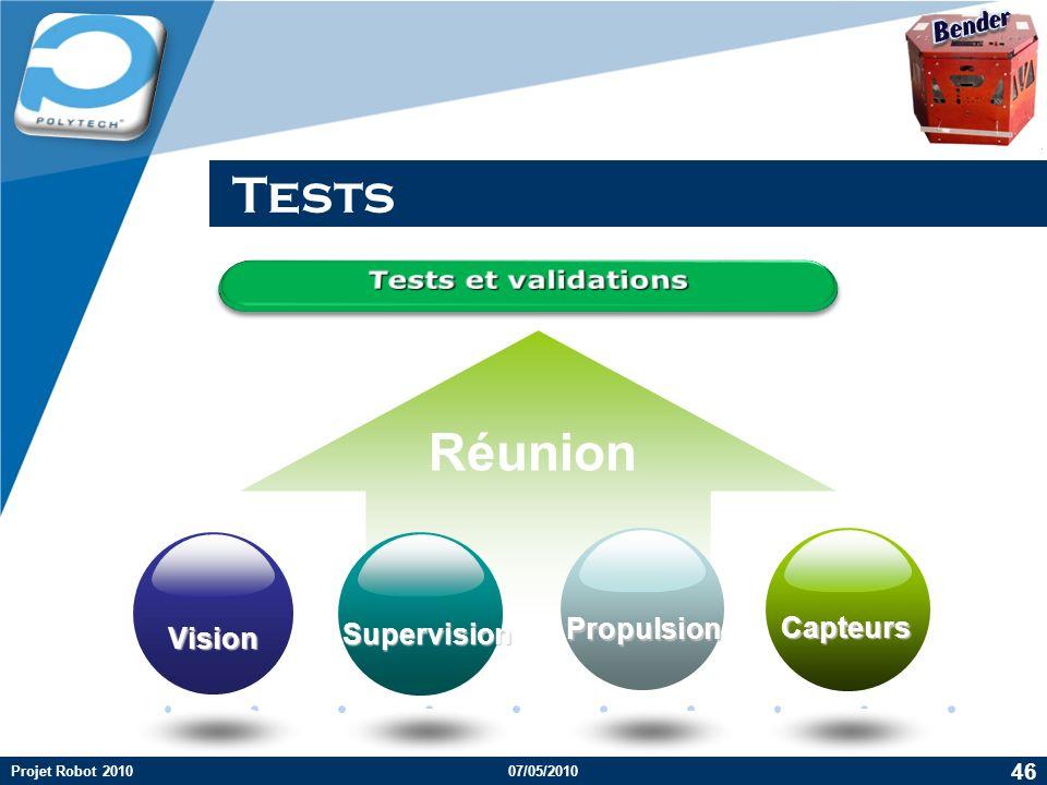 Tests Réunion Bender Tests et validations Propulsion Capteurs