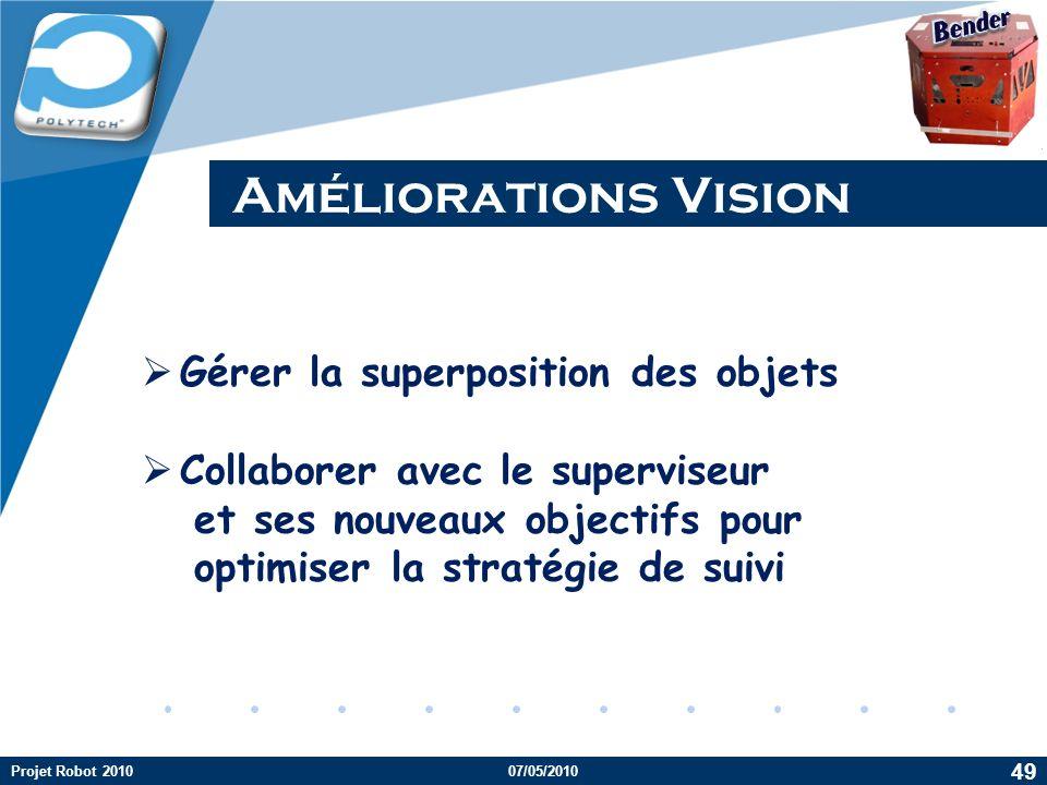 Améliorations Vision Gérer la superposition des objets