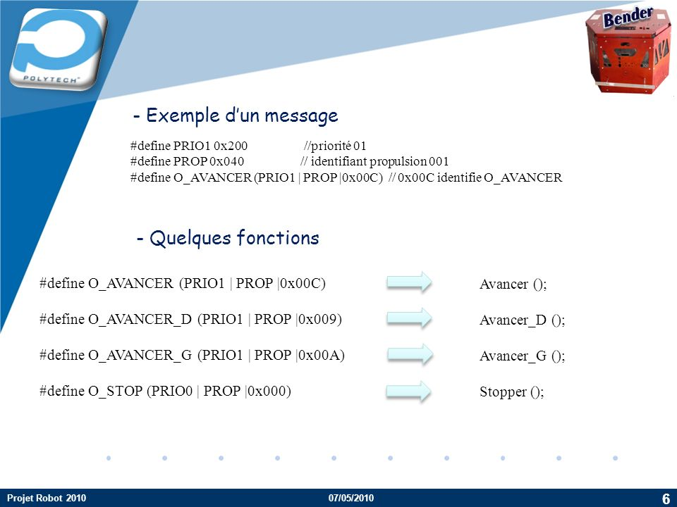 Bender - Exemple d'un message - Quelques fonctions