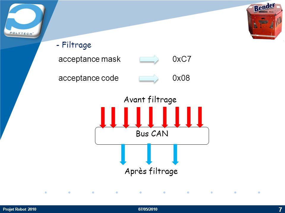 Bender - Filtrage acceptance mask 0xC7 acceptance code 0x08