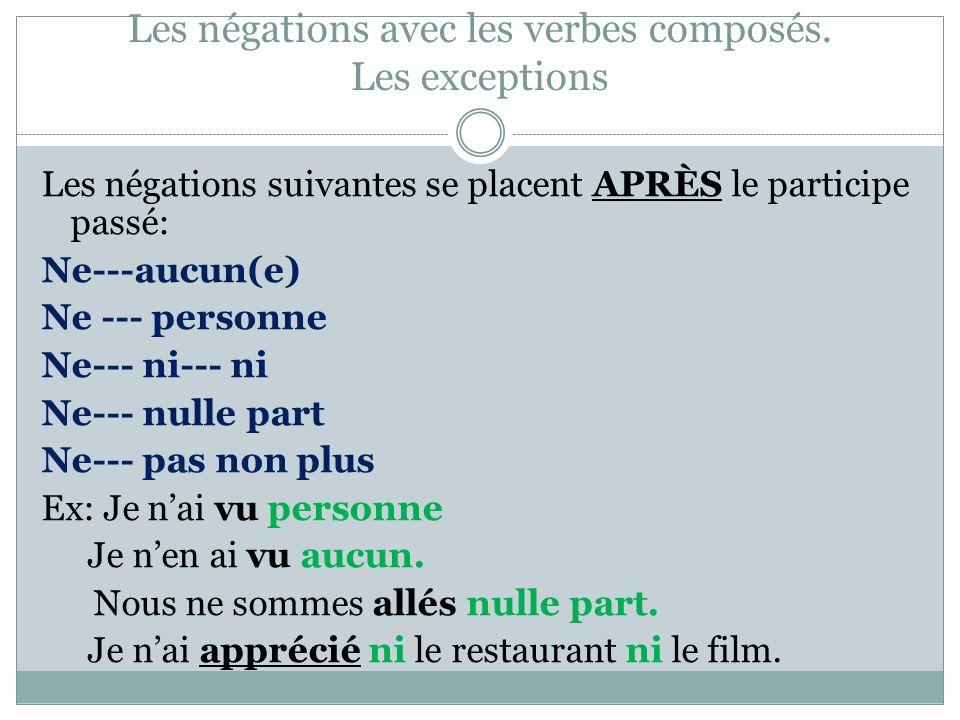 Les négations avec les verbes composés. Les exceptions