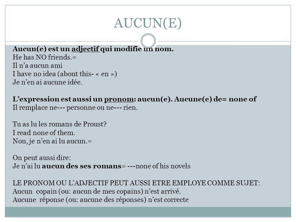 AUCUN(E)