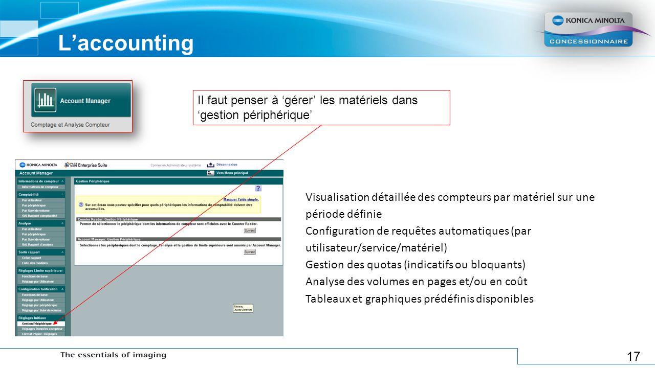 L'accounting Il faut penser à 'gérer' les matériels dans 'gestion périphérique'