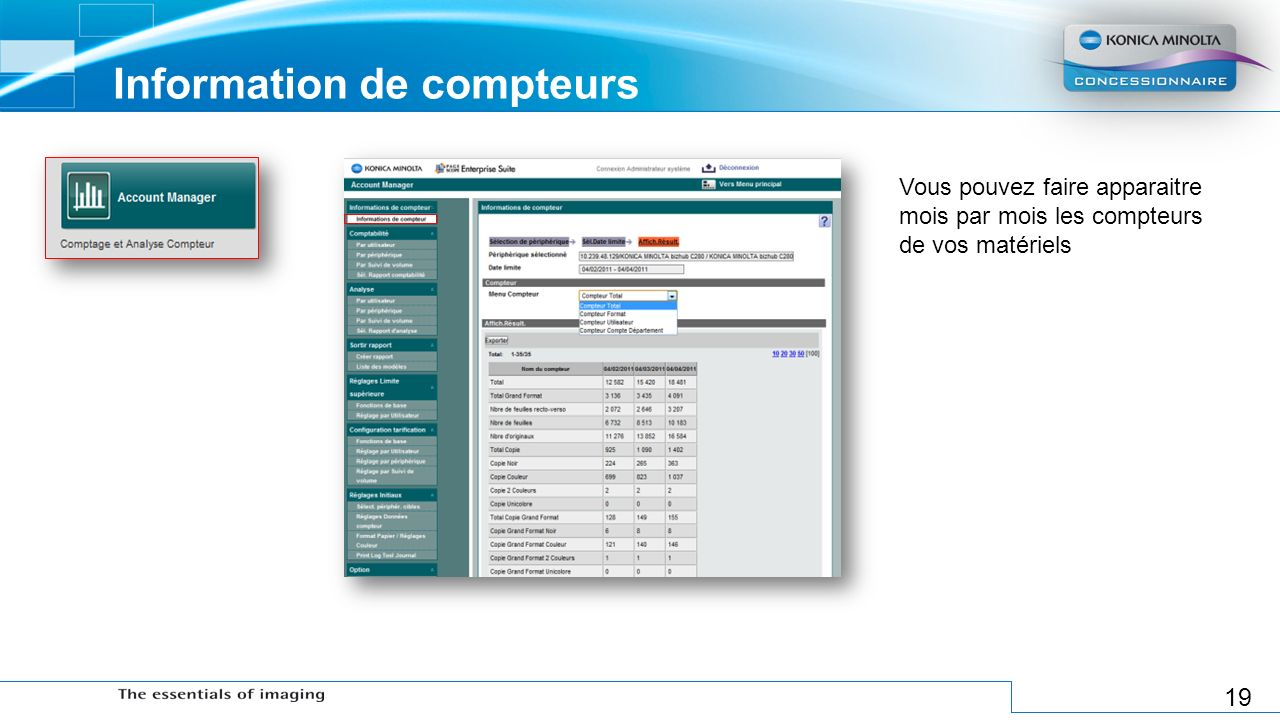 Information de compteurs