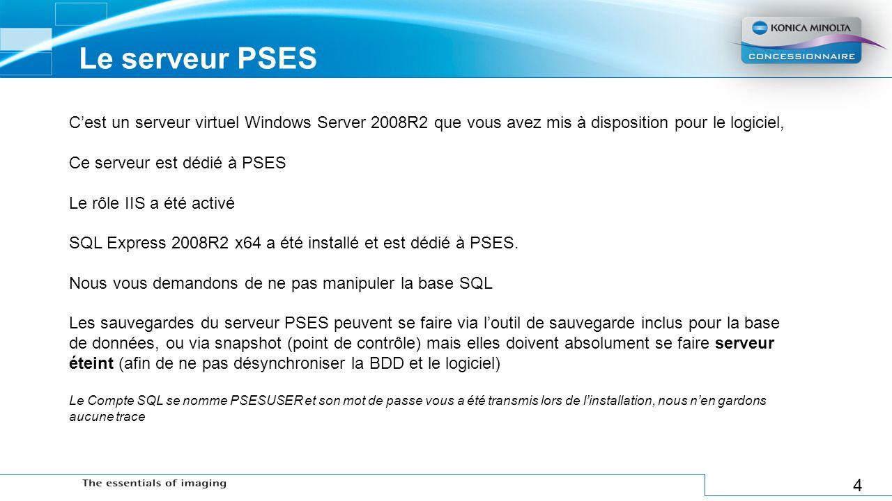 Le serveur PSES C'est un serveur virtuel Windows Server 2008R2 que vous avez mis à disposition pour le logiciel,