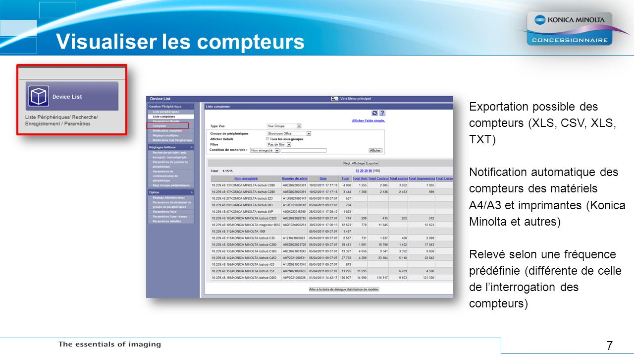 Visualiser les compteurs