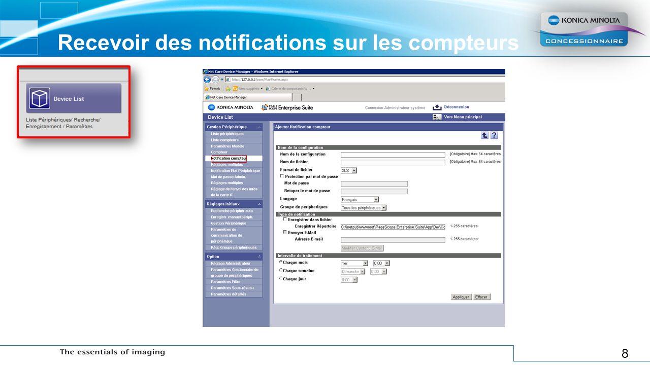 Recevoir des notifications sur les compteurs
