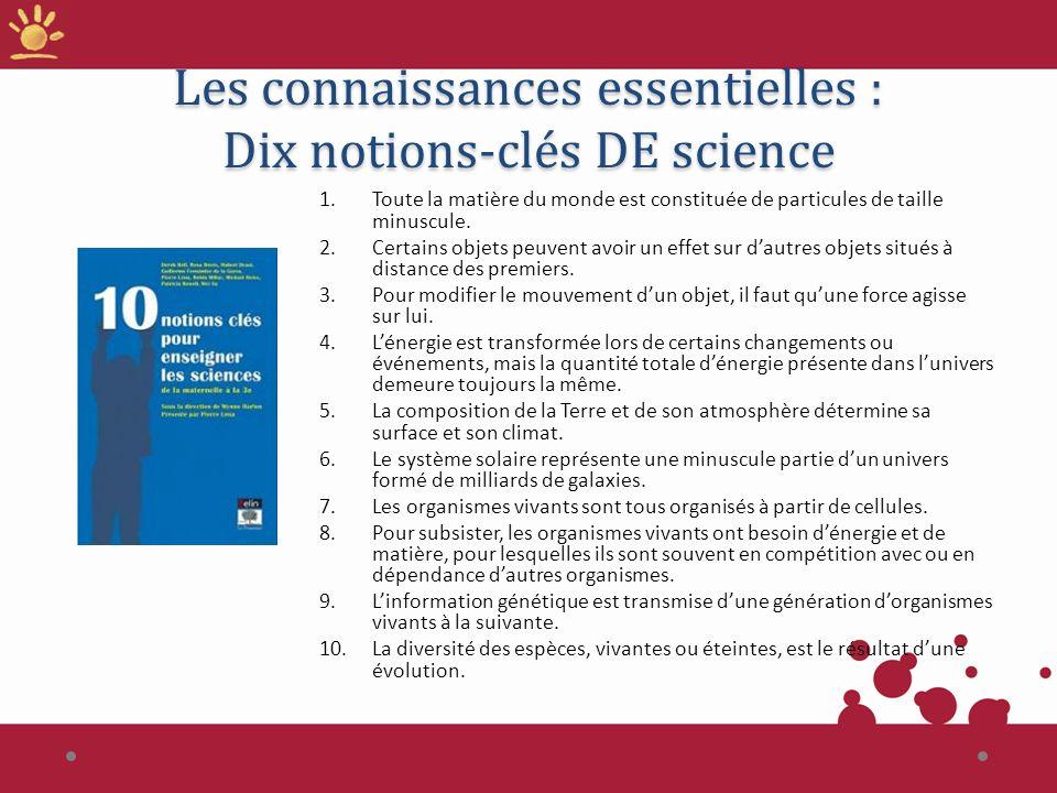 Les connaissances essentielles : Dix notions-clés DE science