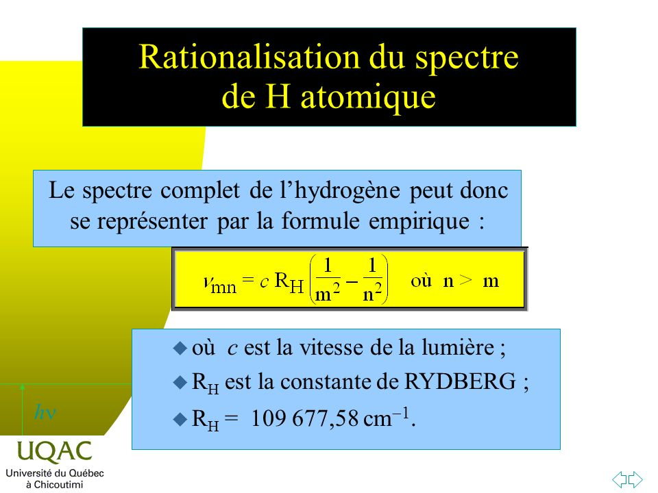 Rationalisation du spectre de H atomique