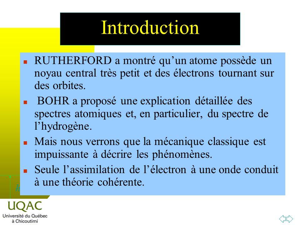 Introduction RUTHERFORD a montré qu'un atome possède un noyau central très petit et des électrons tournant sur des orbites.