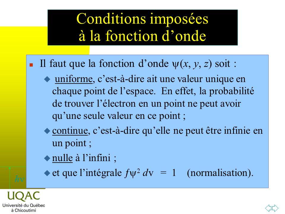 Conditions imposées à la fonction d'onde