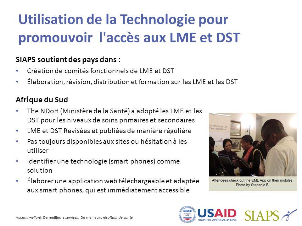 Utilisation de la Technologie pour promouvoir l accès aux LME et DST