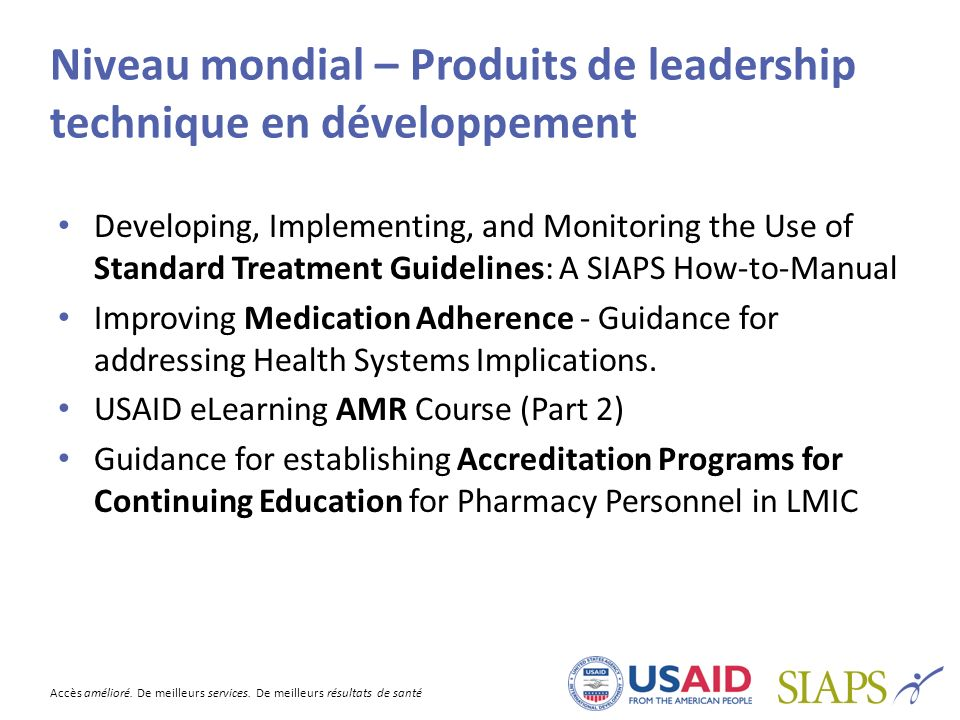 Niveau mondial – Produits de leadership technique en développement