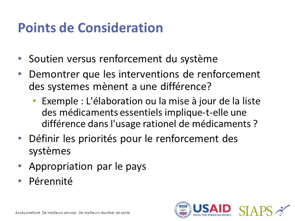 Points de Consideration