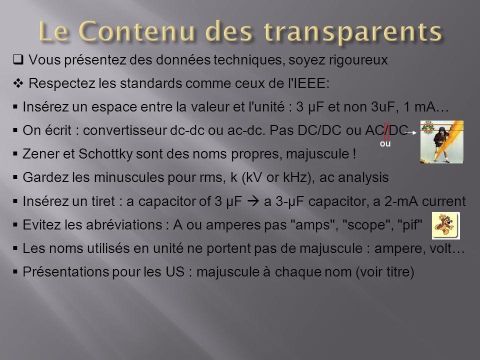 Le Contenu des transparents