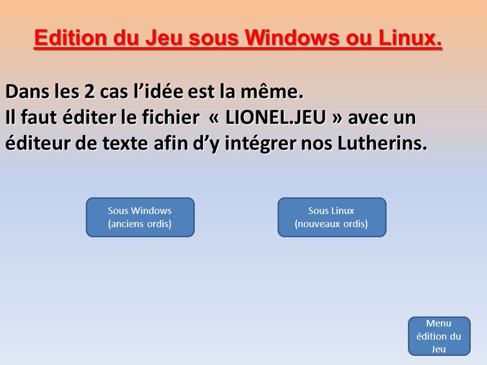 Edition du Jeu sous Windows ou Linux.