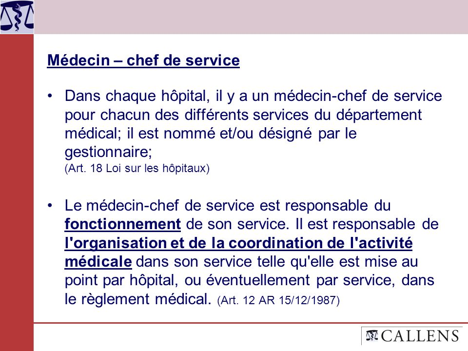 Médecin – chef de service