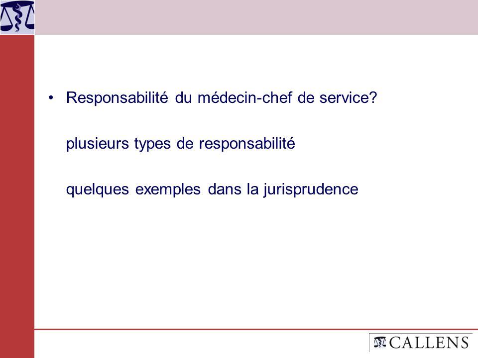 Responsabilité du médecin-chef de service