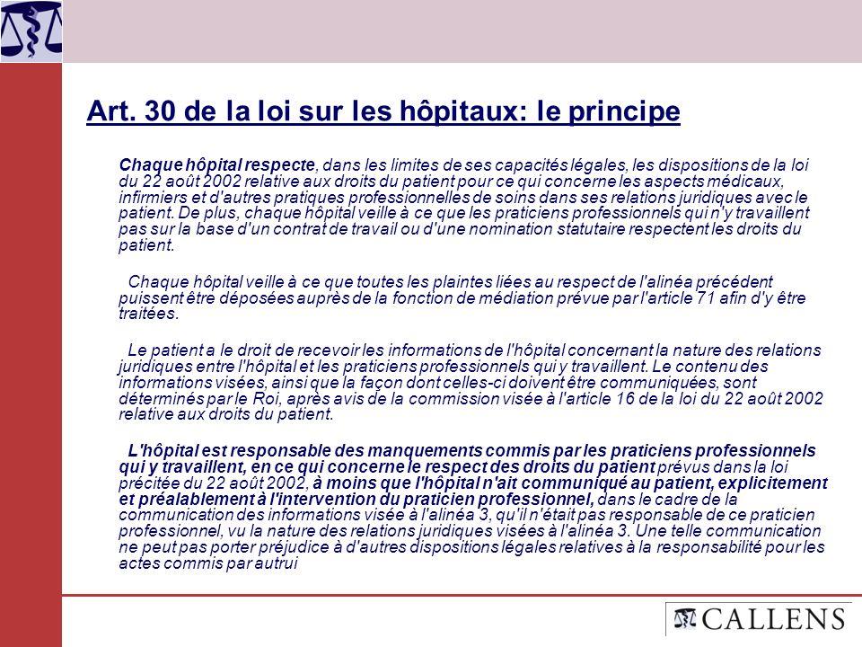 Art. 30 de la loi sur les hôpitaux: le principe