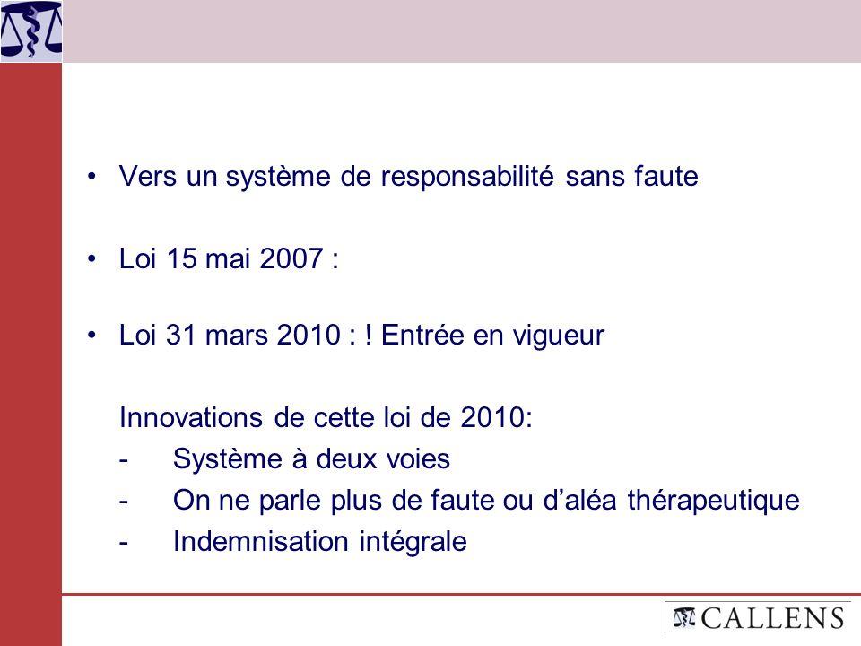 Vers un système de responsabilité sans faute Loi 15 mai 2007 :