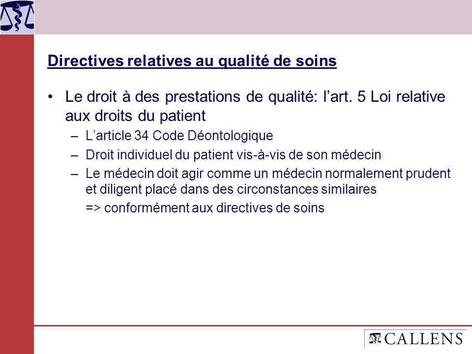 Directives relatives au qualité de soins