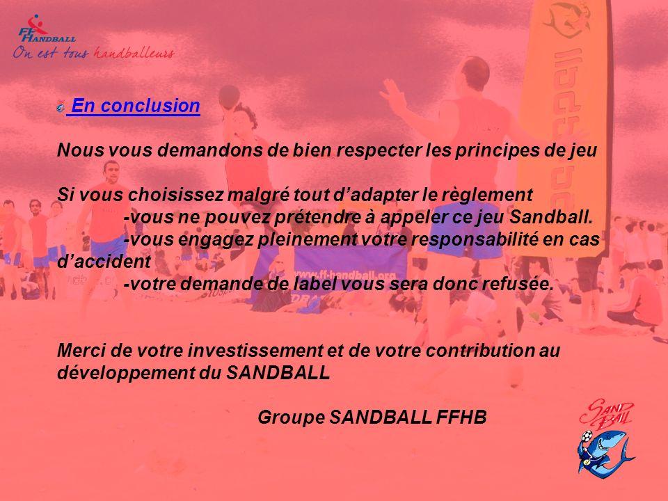En conclusion Nous vous demandons de bien respecter les principes de jeu Si vous choisissez malgré tout d'adapter le règlement -vous ne pouvez prétendre à appeler ce jeu Sandball.