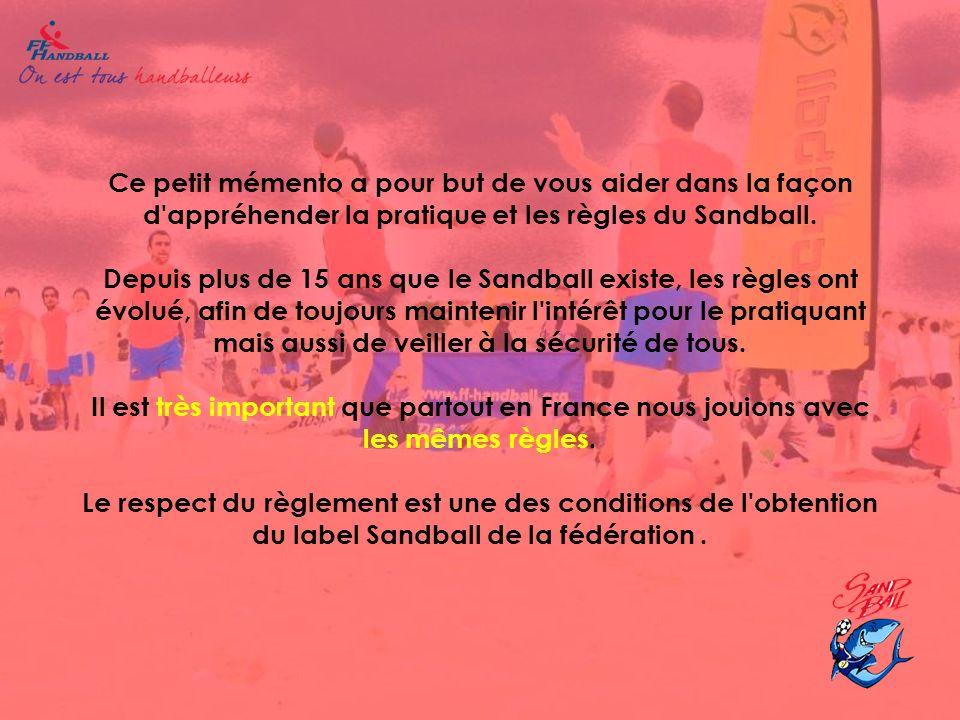 Ce petit mémento a pour but de vous aider dans la façon d appréhender la pratique et les règles du Sandball.