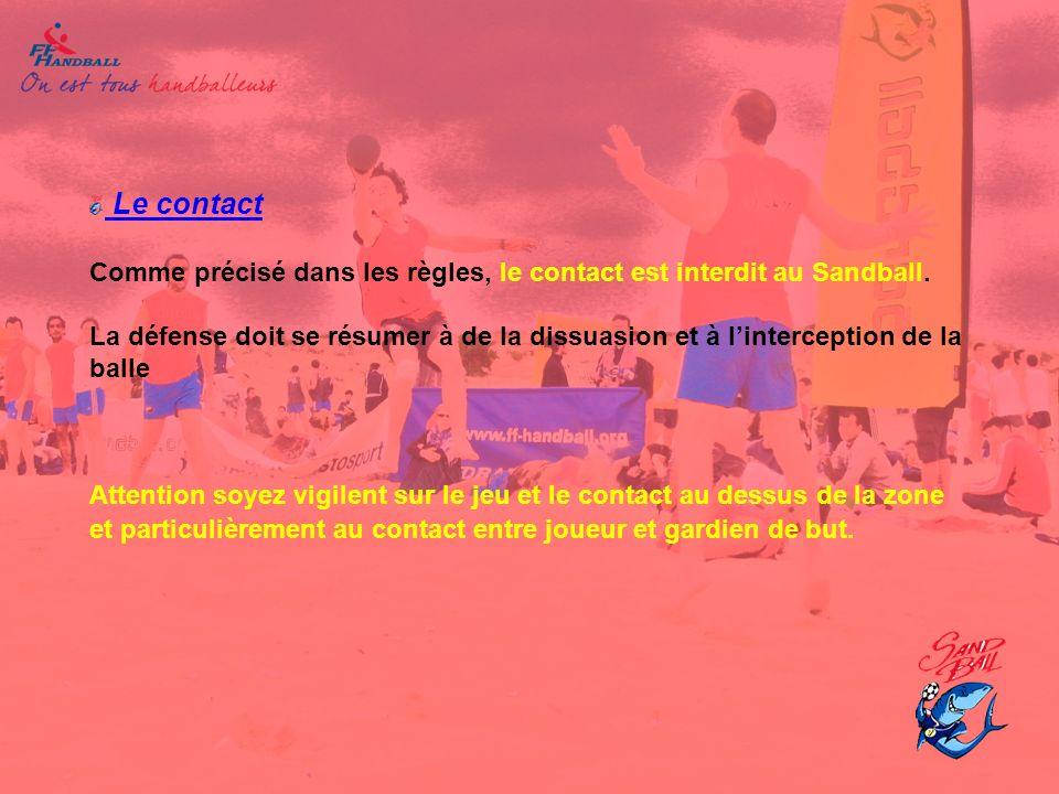 Le contact Comme précisé dans les règles, le contact est interdit au Sandball.