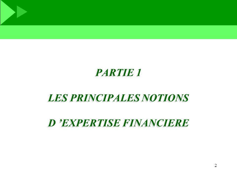 PARTIE 1 LES PRINCIPALES NOTIONS D 'EXPERTISE FINANCIERE