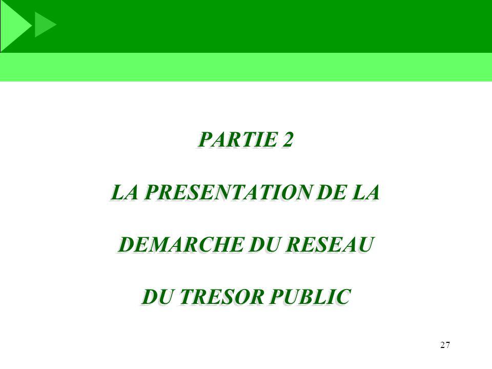 PARTIE 2 LA PRESENTATION DE LA DEMARCHE DU RESEAU DU TRESOR PUBLIC