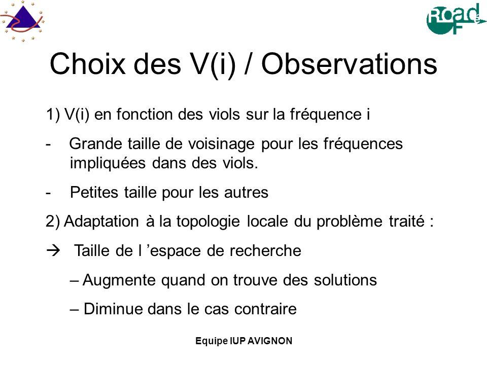 Choix des V(i) / Observations