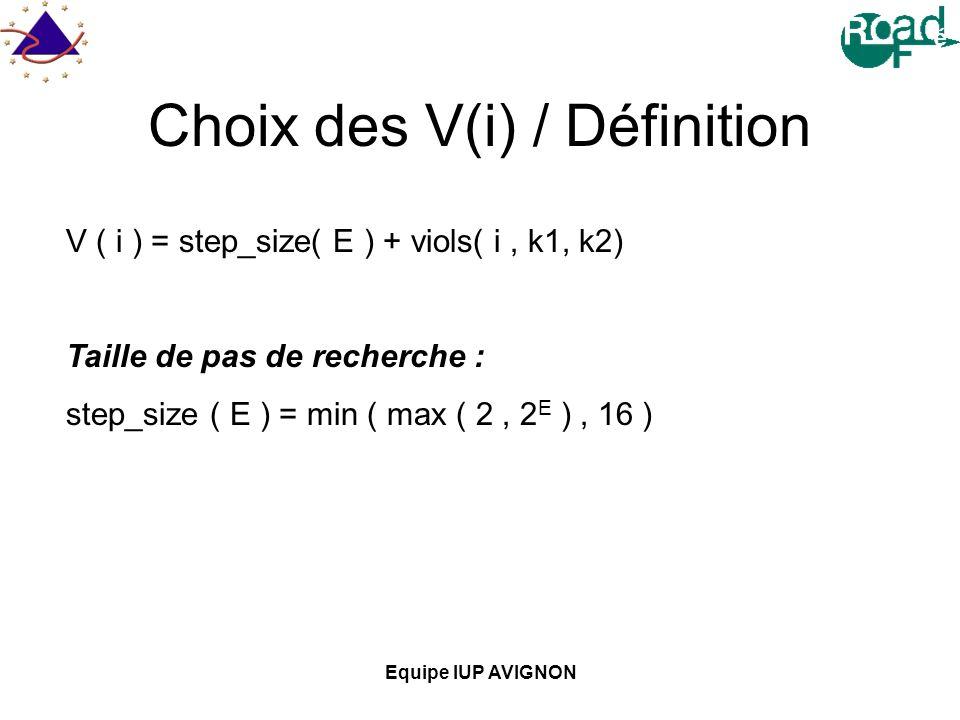 Choix des V(i) / Définition