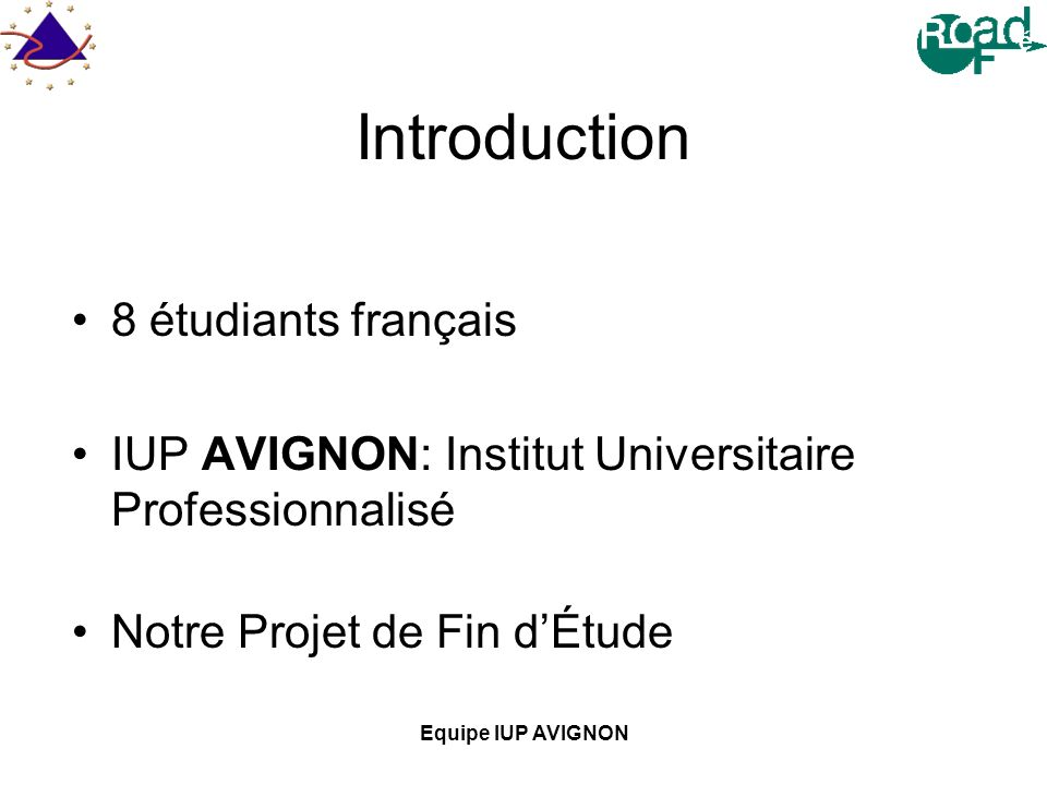 Introduction 8 étudiants français