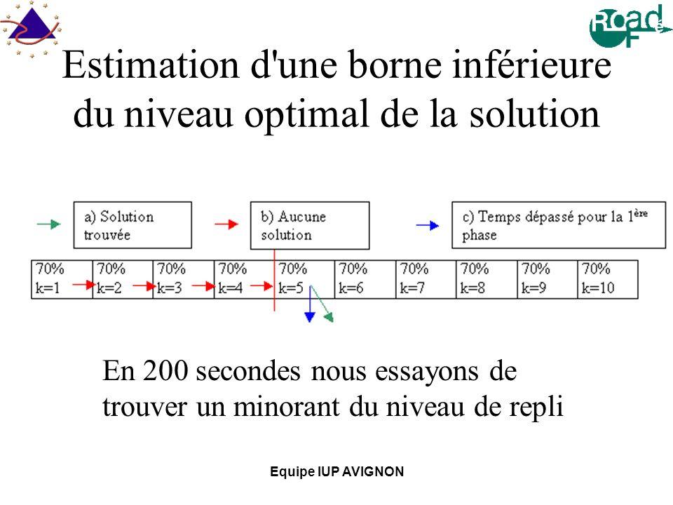 Estimation d une borne inférieure du niveau optimal de la solution