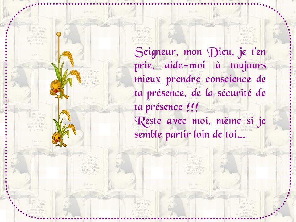 Seigneur, mon Dieu, je t'en prie, aide-moi à toujours mieux prendre conscience de ta présence, de la sécurité de ta présence !!!