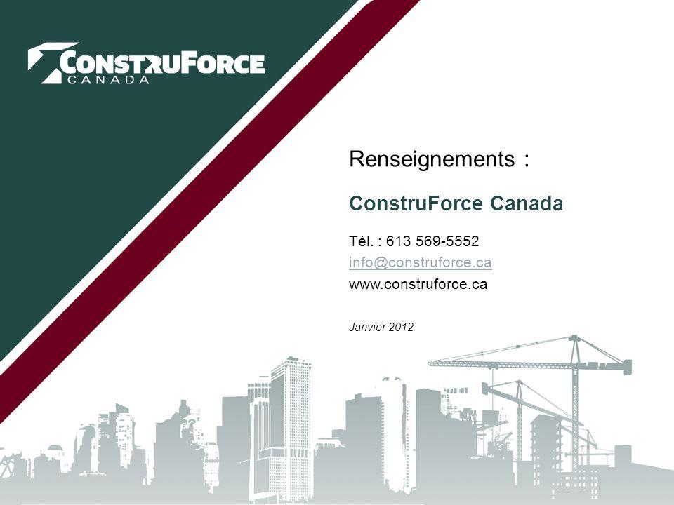Conclusion Rappelez-vous – le système d'IMT de ConstruForce Canada :