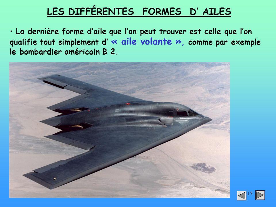 LES DIFFÉRENTES FORMES D' AILES