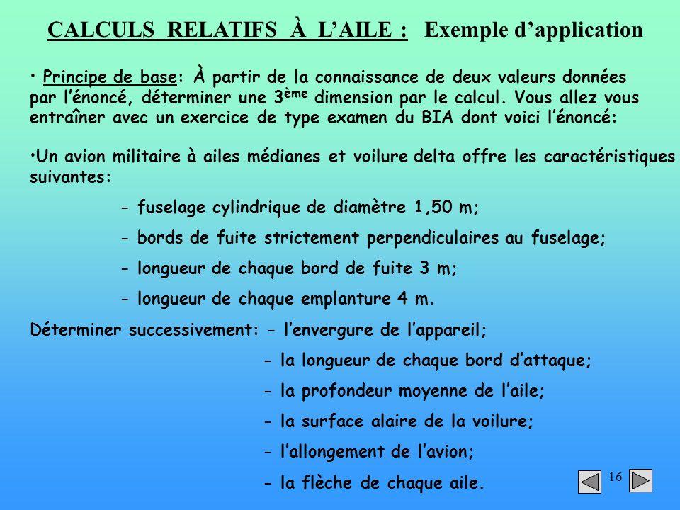 CALCULS RELATIFS À L'AILE : Exemple d'application