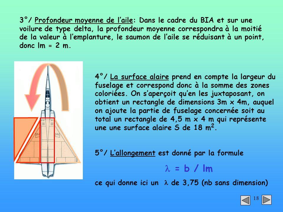 3°/ Profondeur moyenne de l'aile: Dans le cadre du BIA et sur une voilure de type delta, la profondeur moyenne correspondra à la moitié de la valeur à l'emplanture, le saumon de l'aile se réduisant à un point, donc lm = 2 m.